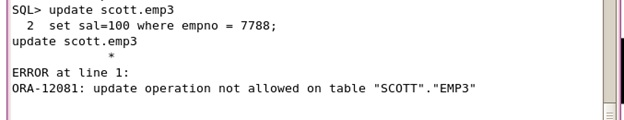 Update read-only table in oracle