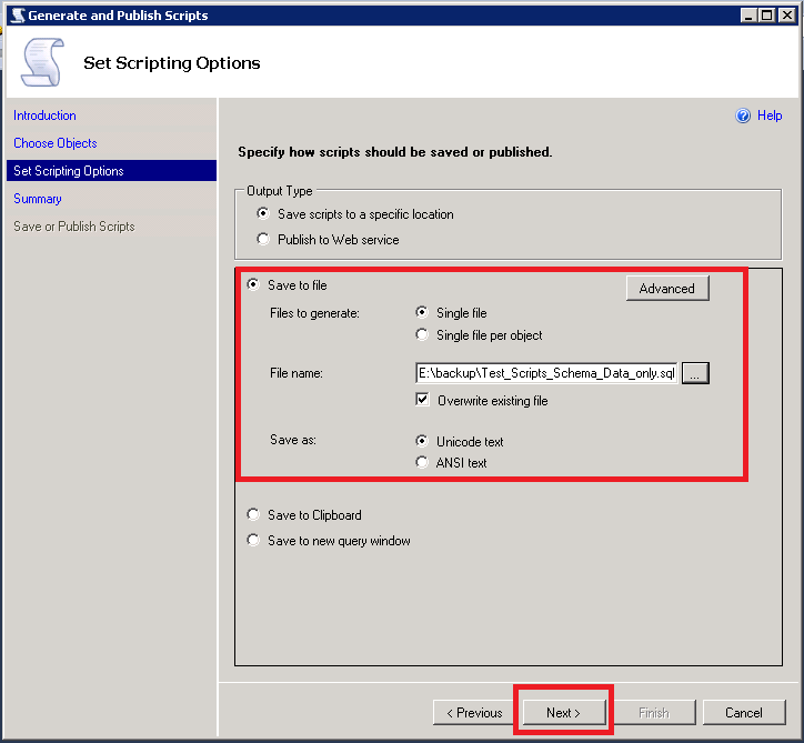 Provide file name and path to save your customized database scripts. Click Next for final summary.