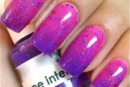 Sparkling magenta nail gel 3-color temperature changing polish