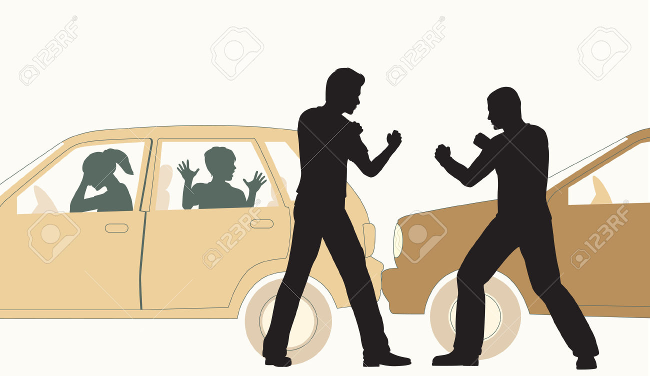 24908262-Editable-vector-illustration-of-two-men-fighting-after-a-minor-road-accident-Stock-Vector
