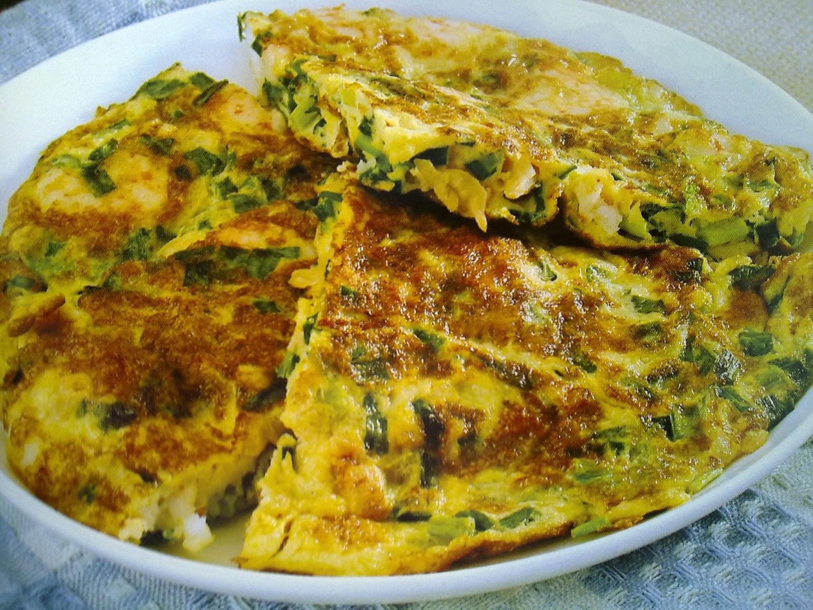 omelet chives shrimps